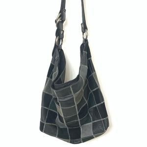 Lucky Brand Leather Patchwork Hobo Black Green EUC